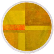 Yellow With Orange Round Beach Towel
