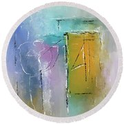 Yellows And Blues Round Beach Towel
