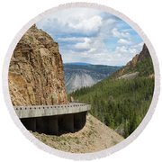 Round Beach Towel featuring the photograph Yellowstone Drive by John M Bailey