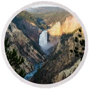 Yellowstone Falls Round Beach Towel