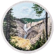 Round Beach Towel featuring the painting Yellowstone Falls by Kevin Daly