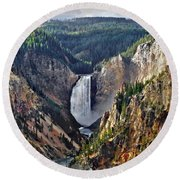 Yellowstone Falls Seen From Artist Point Round Beach Towel