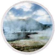 Yellowstone Geysers Round Beach Towel