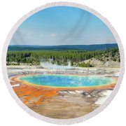 Yellowstone Grand Prismatic Spring  Round Beach Towel
