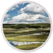 Yellowstone Hayden Valley National Park Wall Decor Round Beach Towel
