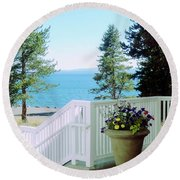 Yellowstone Lake			 Round Beach Towel by Ann Johndro-Collins