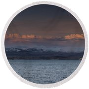 Yellowstone Lake At Sunset Round Beach Towel