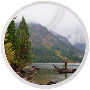Yellowstone Lake Fall Round Beach Towel