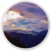 Round Beach Towel featuring the photograph Yellowstone by Larry Campbell