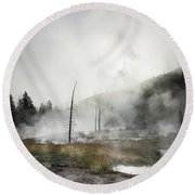 Yellowstone Morning Fog Round Beach Towel