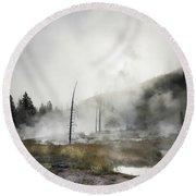 Yellowstone Morning Fog Round Beach Towel