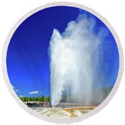 Round Beach Towel featuring the painting Yellowstone National Park Beehive Geyser by Christopher Arndt