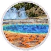 Round Beach Towel featuring the painting Yellowstone National Park Grand Prismatic Spring by Christopher Arndt