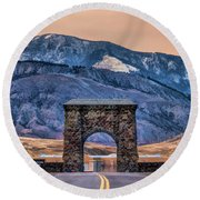 Round Beach Towel featuring the painting Yellowstone National Park North Entrance by Christopher Arndt