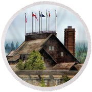 Round Beach Towel featuring the painting Yellowstone National Park Old Faithful Inn by Christopher Arndt