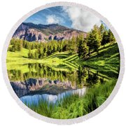 Round Beach Towel featuring the painting Yellowstone National Park Trout Lake by Christopher Arndt
