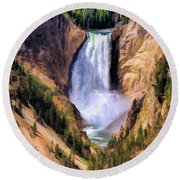 Round Beach Towel featuring the painting Yellowstone National Park Upper Falls by Christopher Arndt