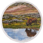 Round Beach Towel featuring the painting Yellowstone Reflections by Erin Fickert-Rowland