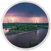 Yellowstone River Lightning Round Beach Towel