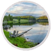 Yellowstone River Off Grand Loop Round Beach Towel