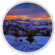 Yellowstone Winter Morning Round Beach Towel by Greg Norrell