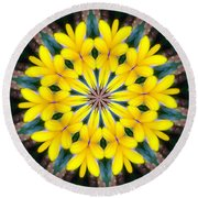 Yelow Floral Burst Round Beach Towel by Shirley Moravec