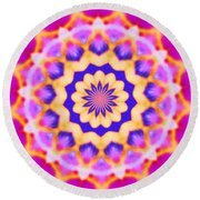 Yelow Pink Blue Mandala Round Beach Towel