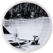Round Beach Towel featuring the photograph Yep She's Ready To Go by Jez C Self