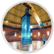 Round Beach Towel featuring the photograph Yerkes Observatory Williams Bay Telescope  by Tom Jelen