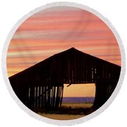 Yesterday And Today At Sunset Round Beach Towel