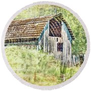 Round Beach Towel featuring the photograph Yesteryear Barn by Jean OKeeffe Macro Abundance Art
