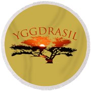 Yggdrasil- The World Tree Round Beach Towel