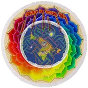 Yhwh Covers Earth Round Beach Towel