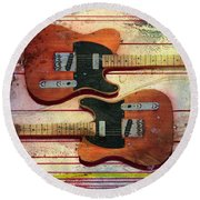 Round Beach Towel featuring the painting Yin-yang Teles by Andrew King