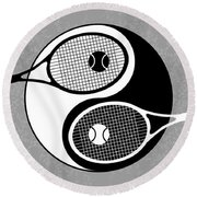 Yin Yang Tennis Round Beach Towel by Carlos Vieira