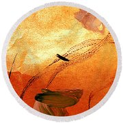 Ying And Yang Flowers Round Beach Towel