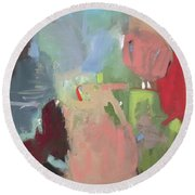 Round Beach Towel featuring the painting yj by Chris Gholson