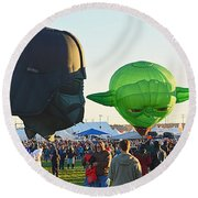 Round Beach Towel featuring the photograph Yoda And Darth by AJ Schibig