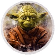 Yoda Art Round Beach Towel