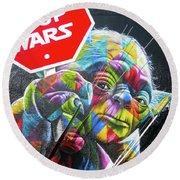 Yoda - Stop Wars Round Beach Towel