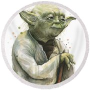 Yoda Watercolor Round Beach Towel