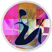 Yoga  8 Round Beach Towel by Iris Gelbart