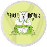Yoga Beer Bear Round Beach Towel