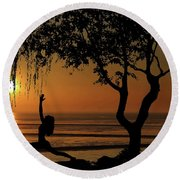 Yoga By The Bay At Sunset Round Beach Towel