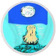 Yoga By The Sea Under The Moon Round Beach Towel