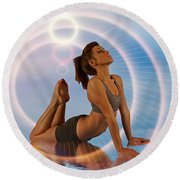 Yoga Girl 1209206 Round Beach Towel