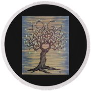 Round Beach Towel featuring the drawing Yoga Love Tree by Aaron Bombalicki