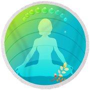 Yoga Meditation Pose Abstract Illustration Round Beach Towel