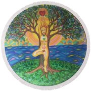 Yoga Tree Pose Round Beach Towel