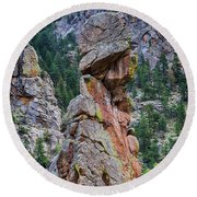 Round Beach Towel featuring the photograph Yogi Bear Rock Formation by James BO Insogna